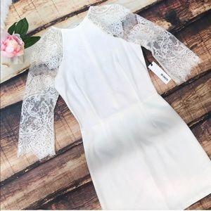 BB Dakota White Lace Sleeve Open Lace Back Dress